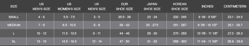 Socks Sizes